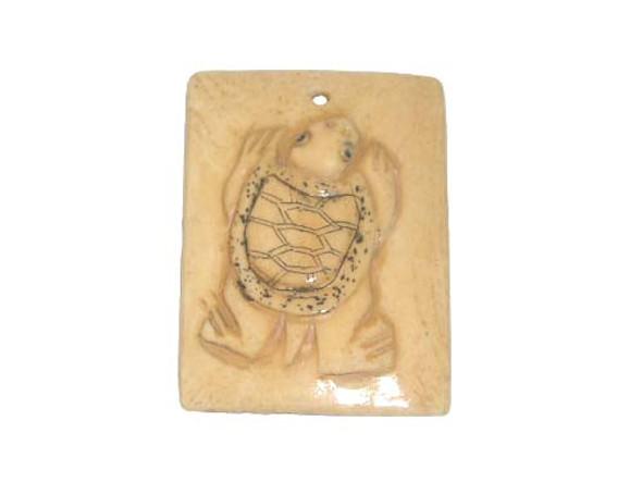 40x38mm. Turtle Carved Bone Figure Rectangle Pendant