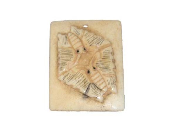 40x38mm. Butterfly Carved Bone Figure Rectangle Pendant