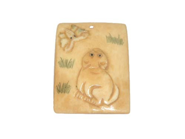 40x38mm. cat bone figure rectangle pendant