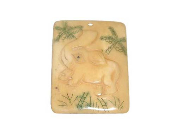 40x38mm. elephant Carved bone figure rectangle pendant