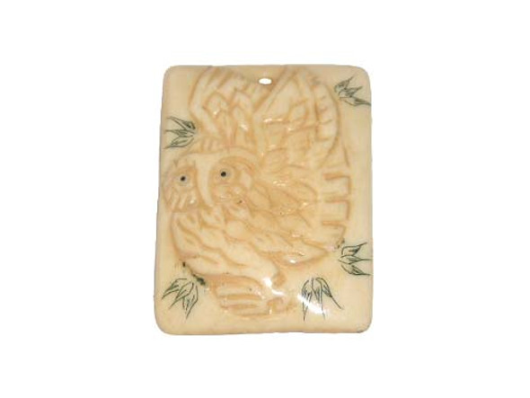 40x38mm. owl Carved bone figure rectangle pendant