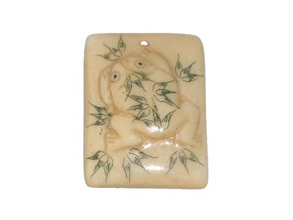 40x38mm  turtle Carved bone figure rectangle pendant