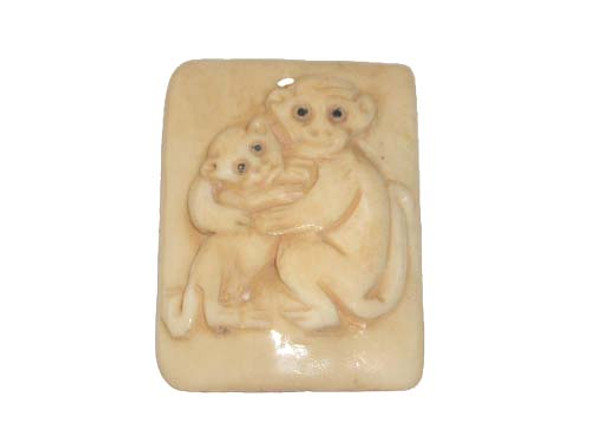 40x38mm. monkey Carved bone figure rectangle pendant