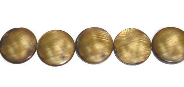 20mm Mother Of Pearl Puffed Coin Beads, Brown Color