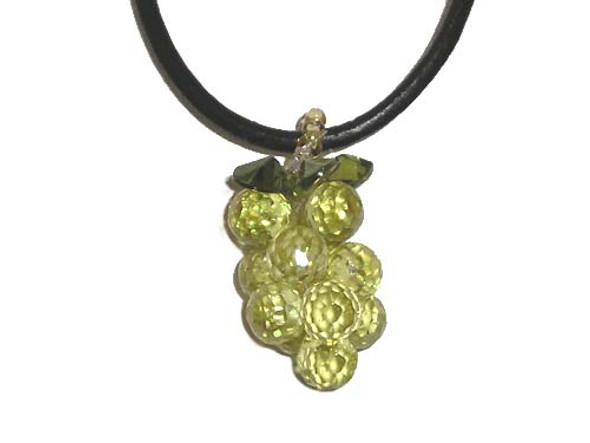 25mm Cz Grape Pendant, Light Green