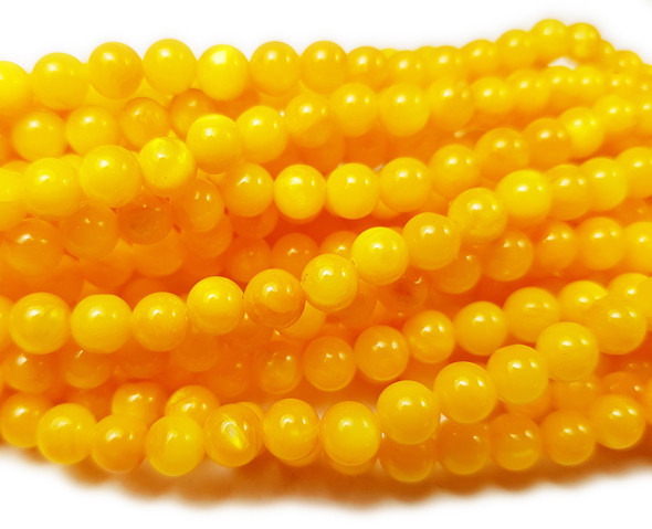 6mm About 63 Beads Mother Of Pearl Orange Yellow Round Beads