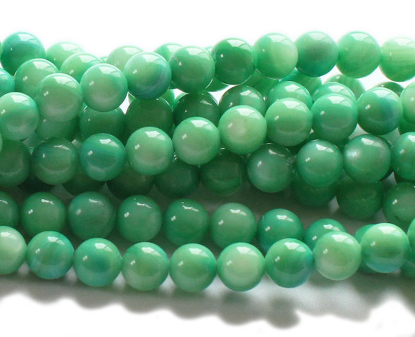 About 6mm Approx. 74 Beads Mother Of Pearl Green Round Beads