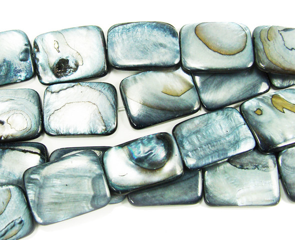 15x20mm About 19 Beads Mother Of Pearl Gray Puffed Rectangle Beads