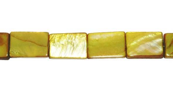 10x14mm About 25 Beads Mother Of Pearl Goldenrod Rectangle Beads