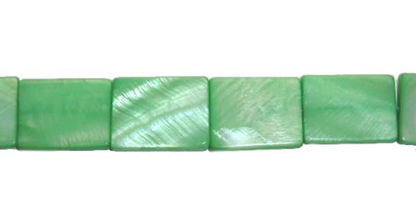 10x14mm About 25 Beads Mother Of Pearl Green Rectangle Beads