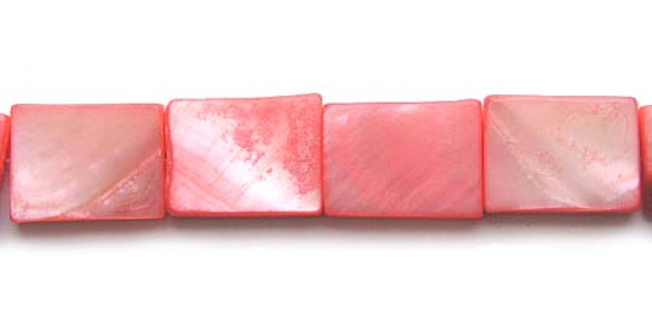 15x20mm About 19 Beads Mother Of Pearl Red Rectangle Beads