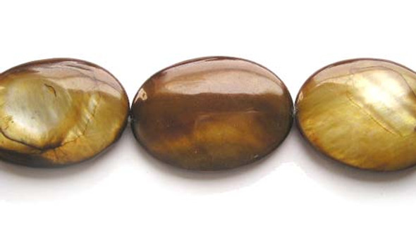 25x35mm 11 Beads Mother Of Pearl Brown Puffed Oval Beads