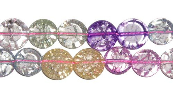 12mm Multi-color crystal flat coin beads