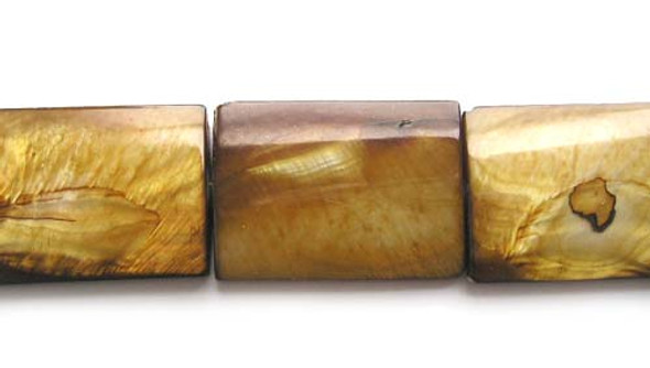 25x35mm 11 Beads Mother Of Pearl Brown Flat Rectangle Beads