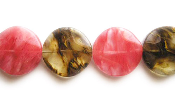 30mm Fire cherry quartz wavy coin beads