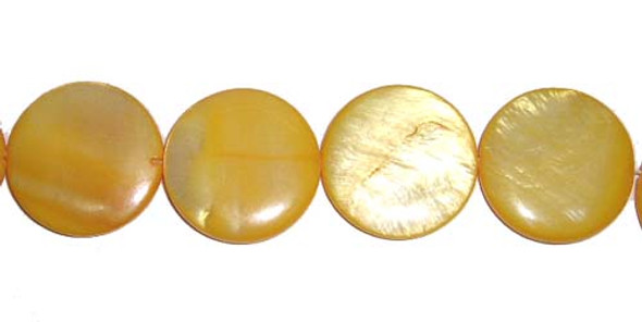 20mm Yellow Mother Of Pearl Puffed Coin Beads
