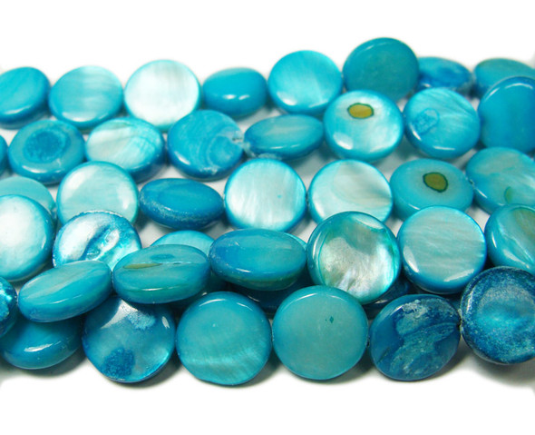20mm Sea Blue Mother Of Pearl Puffed Coin Beads