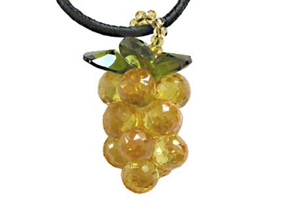 25mm Cz Grape Pendant, Citrine Color