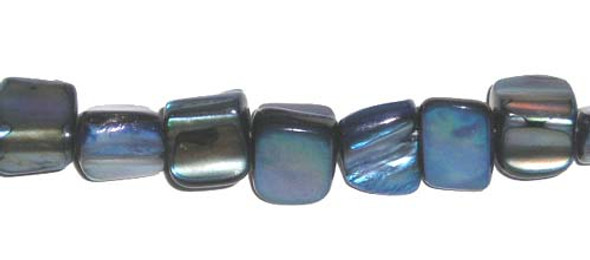 6x7mm Blue Mother Of Pearl Cube Beads