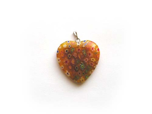 30x30mm  orange Millefiori heart pendant