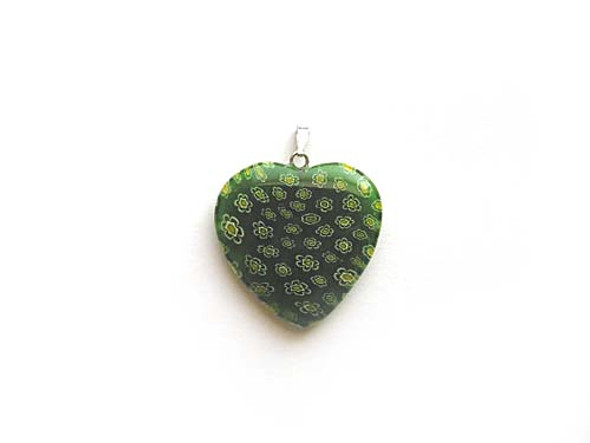 30x30mm  green Millefiori heart pendant
