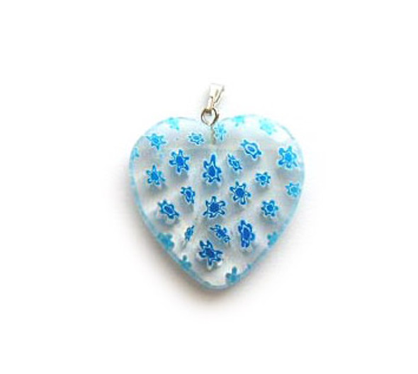 30x30mm Light Blue Millefiori Heart Pendant