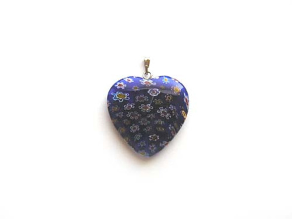 30x30mm  dark blue Millefiori heart pendant