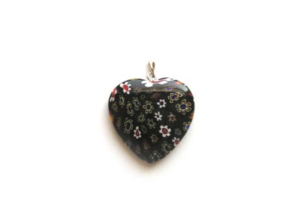 30x30mm  black Millefiori heart pendant