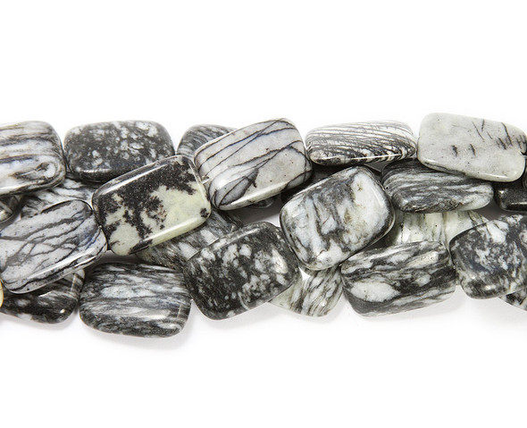 20x30mm  13 beads Dark black web jasper puffed rectangle