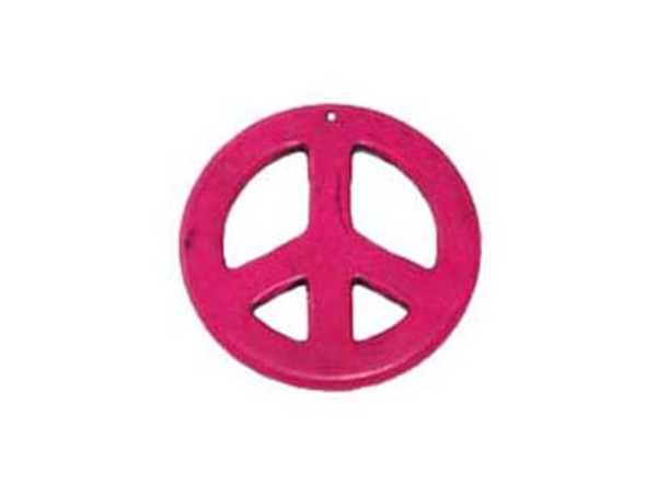 35mm Deep Pink Round Peace Sign Pendant