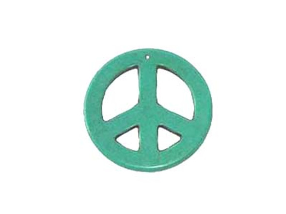 35mm Blue Round Peace Sign Pendant