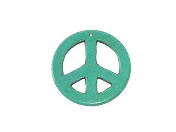 35mm Blue Round Peace Sign Pendant