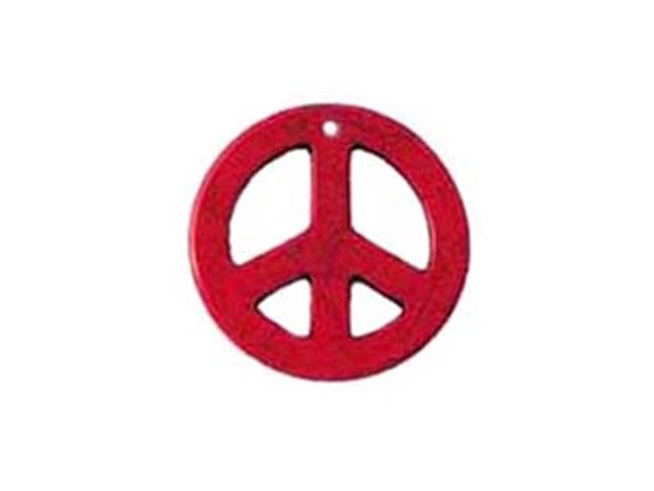 35mm Red Round Peace Sign Pendant