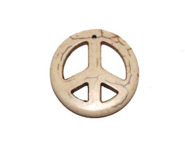 35mm White Round Peace Sign Pendant