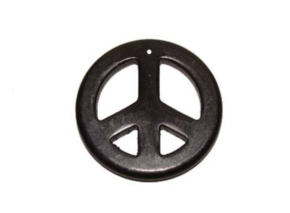 35mm Black Round Peace Sign Pendant