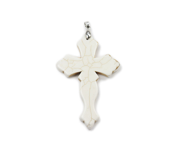 29x44mm White howlite cross pendant with bail