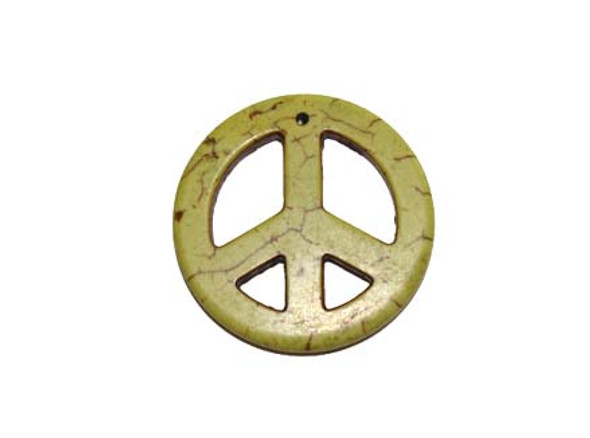 35mm Apple Green Round Peace Sign Pendant