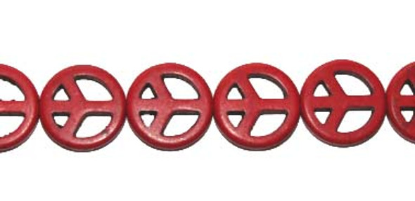 15mm About 27 Beads Red Howlite Peace Sign Beads