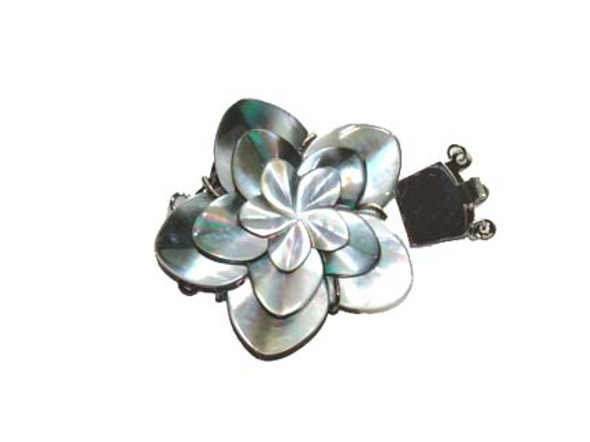 48mm  for triple-strand necklace Black shell flower pendant