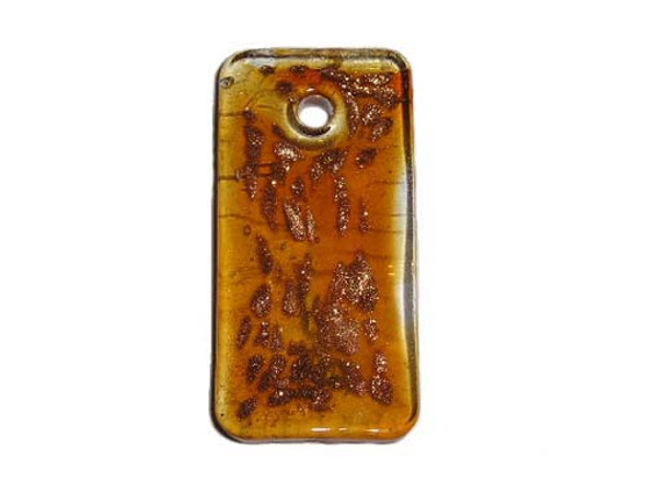 24x49mm  brown Murano style glass rectangle pendant