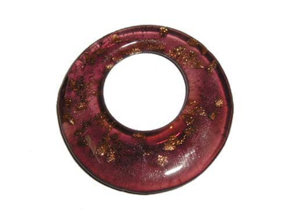 46mm  purple Murano style glass round pendant