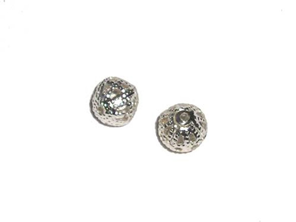 8mm  30 beads Silver-plated brass hollow round beads