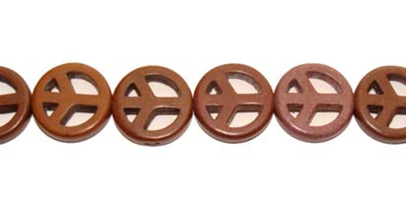 15mm  about 27 beads Brown howlite peace sign beads