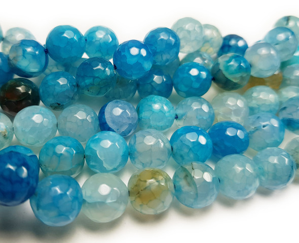 10mm Approx.38 Beads Aqua Agate Faceted Round Beads