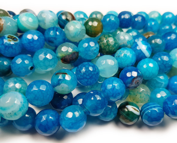 12mm Aqua Agate Faceted Round Beads