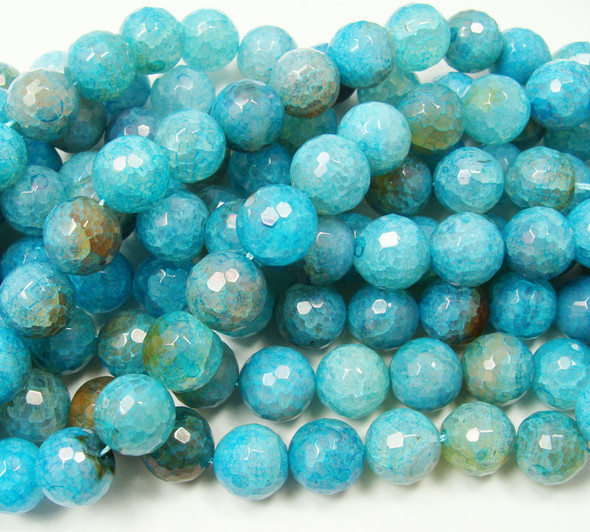14mm Approx. 28 Beads Aqua Agate Faceted Round Beads