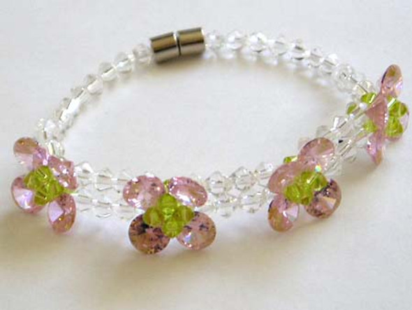 CZ fashion bracelet, pink color .
