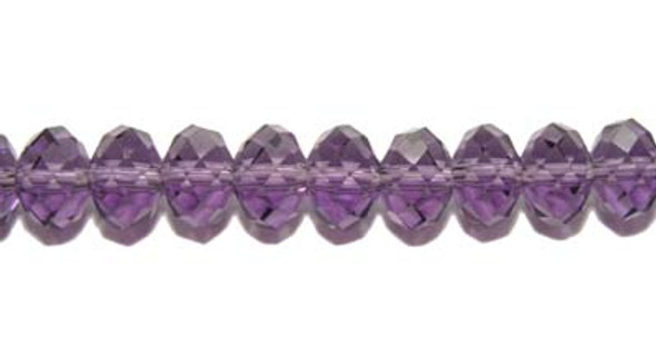 """5.5x8mm  14"""" strand  purple Glass faceted rondelles"""