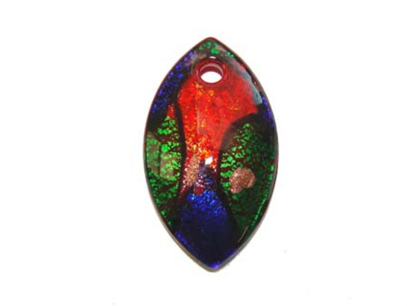 35x60mm Murano Style Marquise Pendant