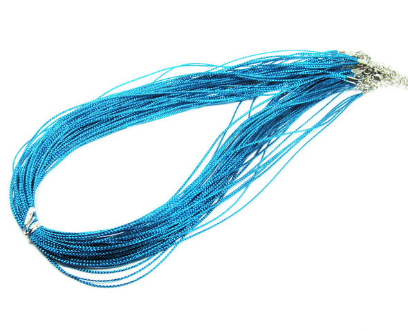 "18"" with 2"" extension chain  pack of 10 Sky blue 5-string necklaces"